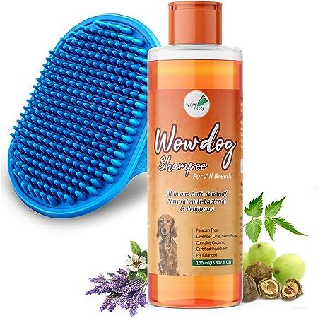 WOW DOG Dog Shampoo Anti-Bacterial & Anti-Dandruff with Organic Natural Neem & Lavender Essential Oils 200 ml With Bath Brush Free