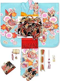 七五三 着物 7歳 セット 正絹 刺繍入り 絵羽柄の子供着物 フルセット「水色 橘に梅と矢羽」WGS806io889OR