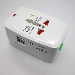 Rag & Sak® Universal International Travel Power Adapter,2 USB Port Europe,Asia,US,UK,AUS White Color