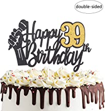 Happy 39th Birthday Cake Topper with Microphone Cheers to 39 Years Old Party Decoration Thirty-ninth Birthday Decor