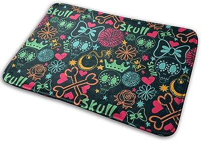 Cartoon Funny Skulls Carpet Non-Slip Welcome Front Doormat Entryway Carpet Washable Outdoor Indoor Mat Room Rug 15.7 X 23.6 inch