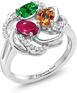 925 Sterling Silver Promise Customized and Personalized Build Your Own 3 Birthstone For Her Women's Engagement Flower Blossom Ring (Available in size 5,6,7,8,9)