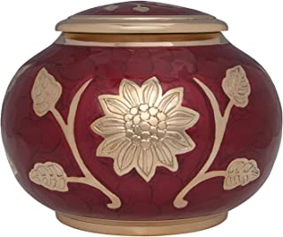 Red Cremation with Gold Flower - Funeral Urn for Human Ashes - Hand Made in Brass with deep red Lacquer - Suitable for Cemetery Burial or Niche - Large Size fits Remains of Most Adults up to 180 lbs