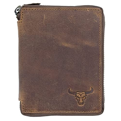 Small natural genuine leather wallet with a bull head with metal zipper-around