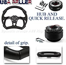 EpandaHouse Compatible with 00-05 Honda S2000 S2K Ap1 320Mm Black F1 Steering Wheel+Hub+Quick Release