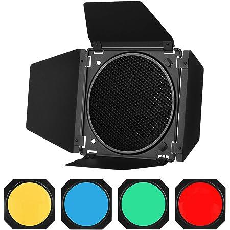 Godox BD-04 Barn Door Barndoor Kit con Rejilla de Panal 4 filtros de Gel de Color para Reflector estándar de 7 Pulgadas de Repuesto para GODOX SL60W SL150II SK400II