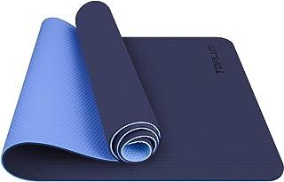TOPLUS gymnastikmatta, yogamatta yogamatta vadderad och halkfri för fitness pilates och gymnastik med bärrem - mått 183 cm...