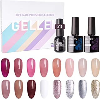 Gellen 16 Colors Gel Nail Polish Kit - With Top Base Coat, Jelly Nail Gel Series Translucent Pink Red Browns Colors, Trend...