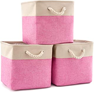 EZOWare 3-Pack Collapsible Storage Bins Basket Foldable Canvas Fabric Tweed Storage Cubes Set with Handles for Babies Nursery Toys Organizer (13 x 13 x 13 inches) (Cream/Pink)