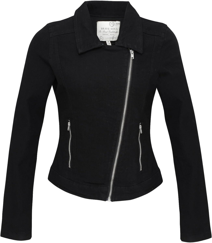 Brave Soul Womens Ladies Ria Denim Biker Jacket