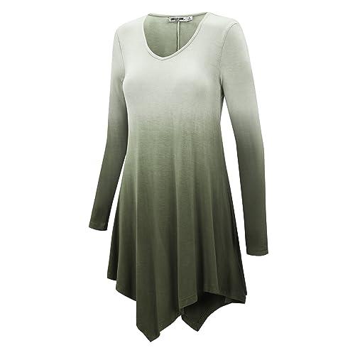 6db96d18bca LL Womens Long Sleeve Handkerchief Hem Tie Dye/Ombre Tunics - Made in USA