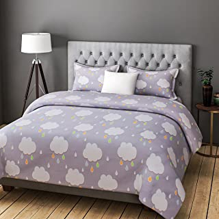 Rago Relish Abstract Clouds Print Grey and White BEDSHEET Set