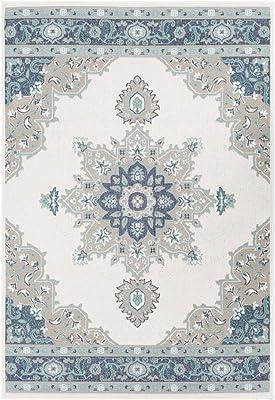 "Artistic Weavers Maritza Taupe and Aqua Indoor/Outdoor 5'3"" x 7'6"" Area Rug, 5'3"" x 7'7"", Blue"