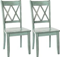 Ashley Furniture Signature Design - Mestler Dining Room Side Chair - Wood Seat - Set of 2 - Blue/Green