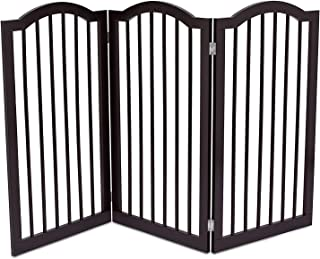Internet`s Best Pet Gate with Arched Top - 3 Panel - 36 Inch Tall Fence - Free Standing Folding Z Shape Indoor Doorway Hall Stairs Dog Puppy Gate - Fully Assembled - Espresso - MDF