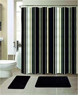 All American Collection New 15 Piece Bathroom Mat Set Memory Foam with Matching Shower Curtain (Stripe Black)