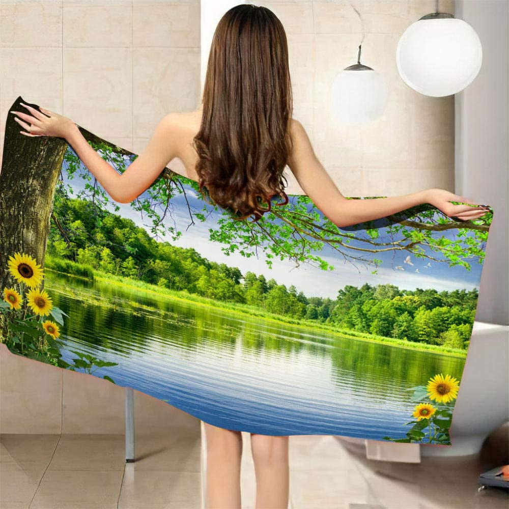 ZCLCHQ Beach Towel Quick Drying Deluxe service Microfibre Extra L Lake Green 3D