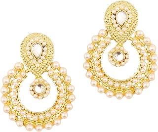 Touchstone Indian Bollywood Chandbali Moon Kundan polki Rhinestones Long Bridal Designer Jewelry Chandelier Earrings for Women in Gold Tone
