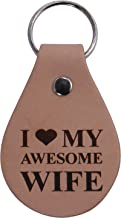 I Love My Awesome Wife Leather Key Chain - Great Gift for Mothers's Day Birthday,Valentines Day, Anniversary for Wife, Mom, Grandma