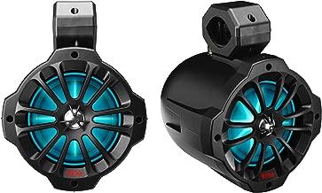 BOSS Audio Systems B62RGB ATV UTV Weatherproof Waketower Speaker System - Amplified, 750 Watts Per Pair, 6.5 Inch Speakers, Full Range, 2 Way, Bluetooth, RGB Led Illumination, IPX5 Weatherproof, Sold