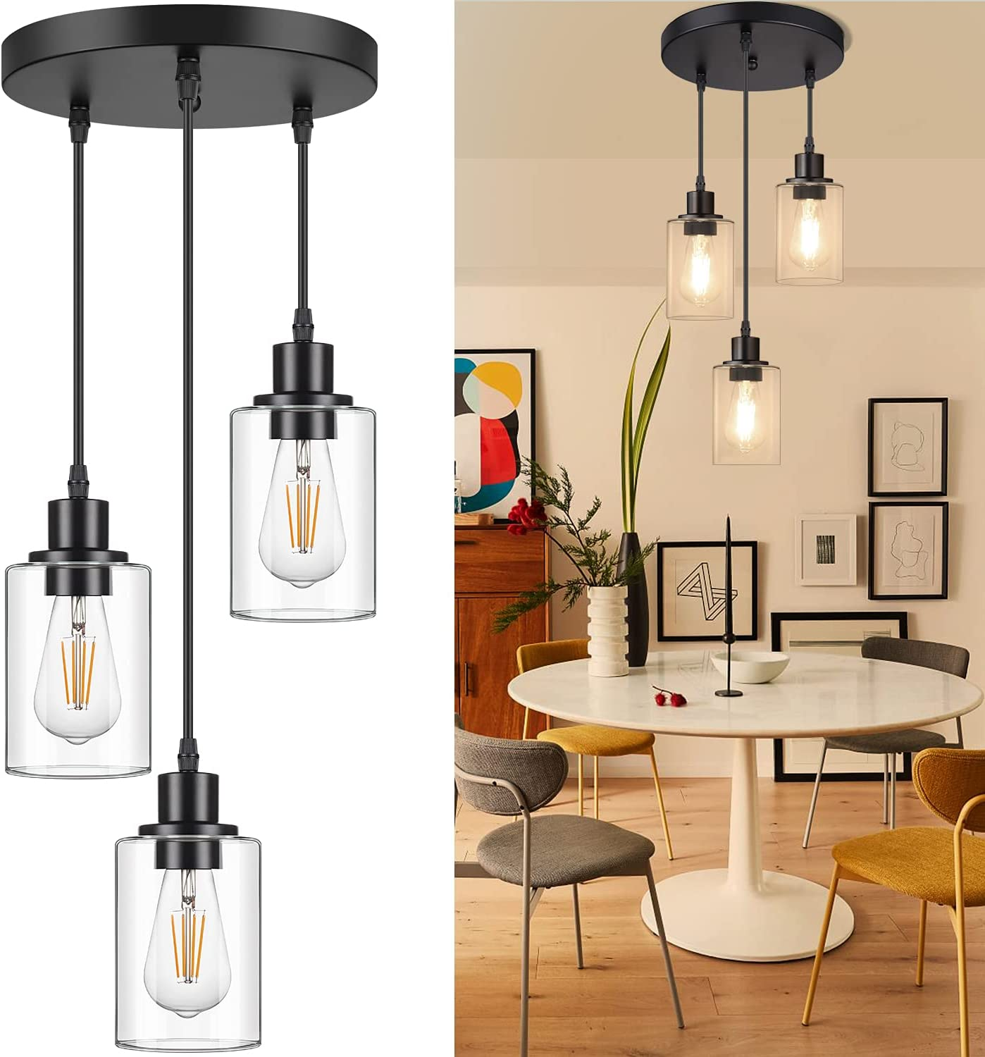 Industrial 3-Light Pendant Light, Adjustable Hanging Light Fixture with Clear Glass Shade, Mini Pendant Lighting, Vintage Farmhouse Ceiling Lamp for Kitchen Dining Room Hallway Bedroom E26 Base, Black