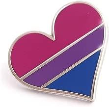 Compoco Bisexual Pride Pin Bi Flag Enamel Lapel Heart Gay Pin Brooch
