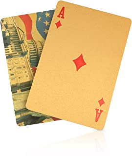 SolarMatrix Waterproof Plastic Gold Playing Cards for Great American, Poker Cards, Deck of Cards(Gold)
