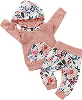 FUTERLY Toddler Baby Girl Clothes Long Sleeve Hoodie Sweatshirt Top and Floral Long Pants Outfit Sets (Pink-B, 12-18M)