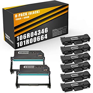 8Pack(6xToner&2xDrum)Compatible106R04346TonerCartridgeand101R00664Drum Unit Replacement for B205 B210 B215Printer