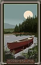 Moosehead Lake Greenville Maine Canoe in Moonlight Travel Art Print Poster by Mike Rangner (12