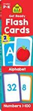 School Zone - Get Ready Flash Cards Alphabet & Numbers 2 Pack - Ages 4 to 6, Preschool to Kindergarten, ABCs, Uppercase an...