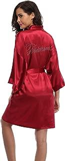 Women's Satin Rhinestone Short Wedding Kimono Robe