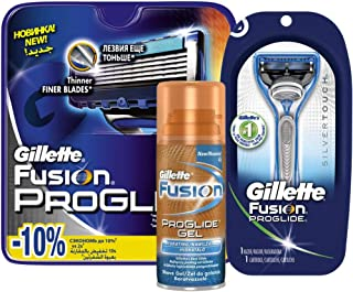 Gillette Proglide Razor & 4 Pieces Cartridges with Proglide Gel 75ml