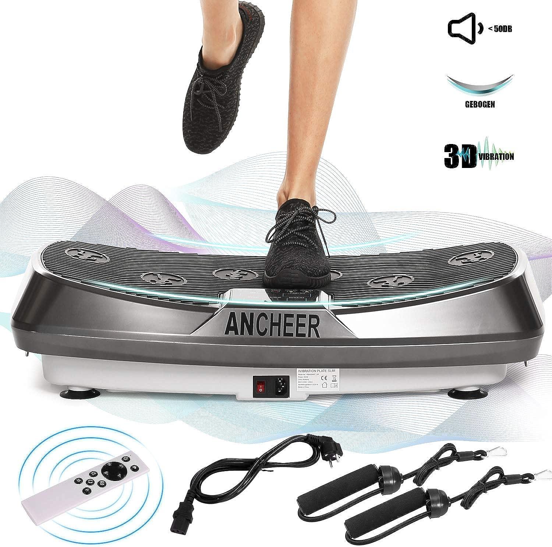 Ancheer 3D Vibrationsplatte Oszillierend, Vibrationsgerte Fitness mit Dual-Motoren, einmaligen Curved Design, Farbe Touch Display, inkl. Trainingsbnder, Fernbedienung (Grau)
