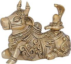 Nandi with Shiva Linga on His Back - Brass Statue