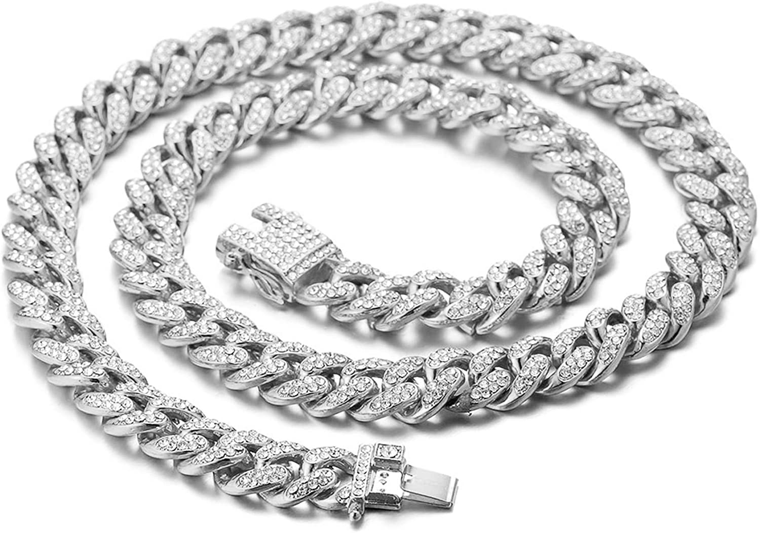 Halukakah Diamond Cuban Link Chain for Women Girl 13.5MM 18k Real Gold Plated/Platinum White Gold Finish Iced Out Choker Necklace Bracelet,Full Cz Diamond Cut Prong Set,with Giftbox