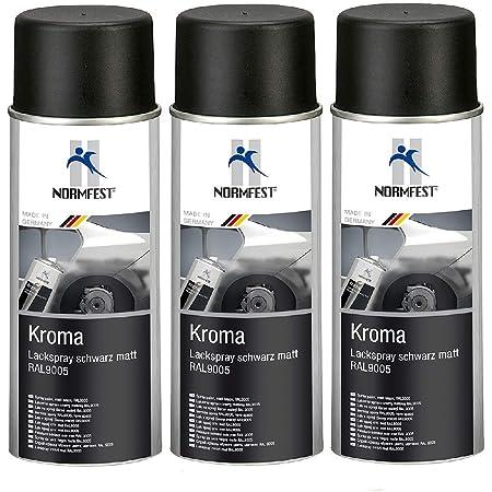Normfest 3 X Kroma Lackspray Sprühlack Schwarz Matt Ral 9005 400ml Pro Dose Bis 100 C Inkl Hs Auto