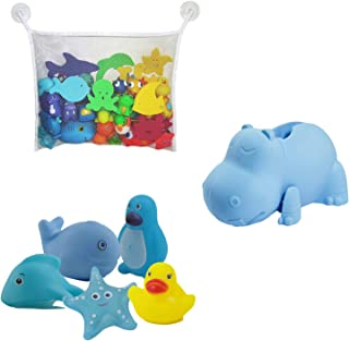 Faucet Cover Baby (Blue Hippo) & Bath Toy Organizer for Kids Bath Toys and Comes with 5 Bath Tub Squirts/Toys