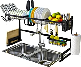 LWBIGHOME [91cm] Over Sink Dish Drying Rack Large Dish Drainer Kitchen Stainless Steel Organizer Chrome Alloy Cutlery Hold...