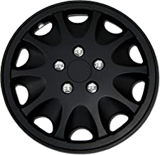 TuningPros WC-15-1028-B 15-Inches Pop On Type Improved Hubcaps Wheel Skin Cover Matte Black Set of 4