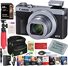 Canon PowerShot G7 X Mark III 20.1MP 4K Digital Camera with 4.2X Optical Zoom Lens 24-100mm f/1.8-2.8 Silver 3638C001 Bundle with Deco Gear Travel Case + 64GB Card + Compact Tripod Accessory Kit