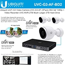 UniFi G3 Video Camera UVC-G3-AF (3 Pack) 802.3af 1080p with Unifi G3 Network Video Recorder UVC-NVR-2TB Much Larger 2TB Hard Drive