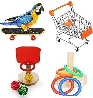 Papegoja leksak träning kämpa set, 4 st papegoja intelligens leksak mini shoppingvagn skateboard basket träningsring rolig...