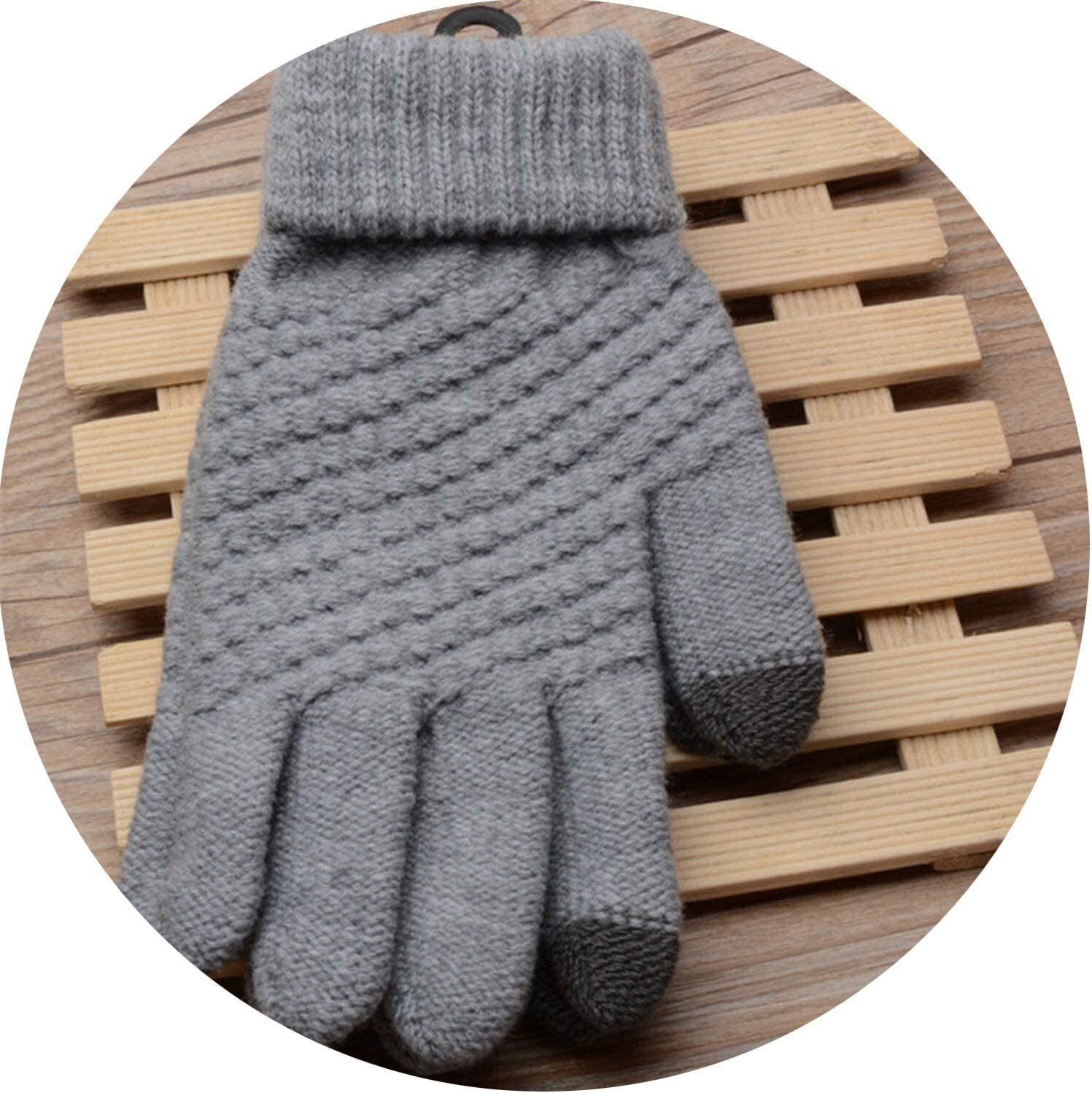 Samanthaa Warm Gloves Solid Magic Gloves Women Girl Female Stretch Knit Touch Screen Winter Warm Accessories Wool Guantes Mittens Gloves (Color : Grey, Size : Oneszie)