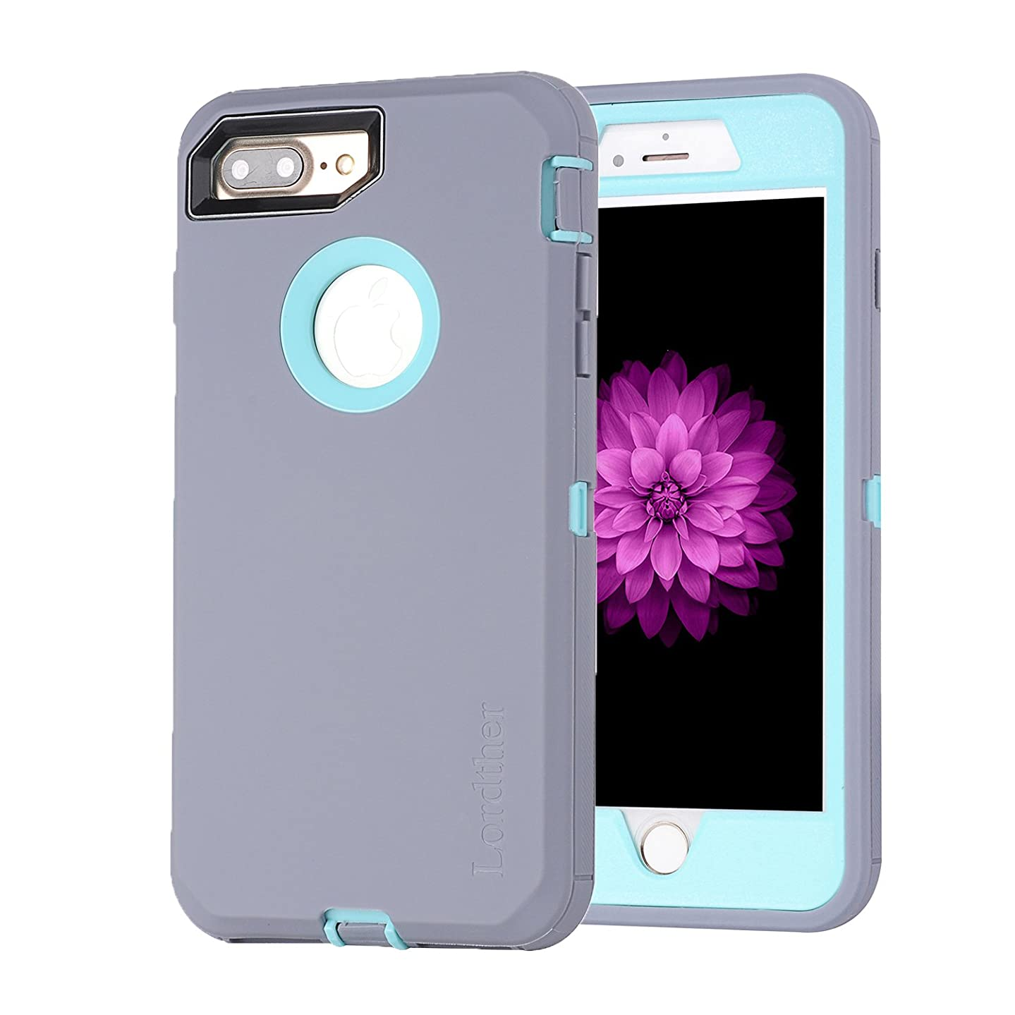 Lordther 5.5-Inch iPhone 8 Plus Case, ShieldOn Series [Military Grade] [Heavy Duty] Synthetic Rubber TPU Case Covers with [Bonus Screen Protector] for iPhone 7 Plus&iPhone 8 Plus (Grey/Blue)