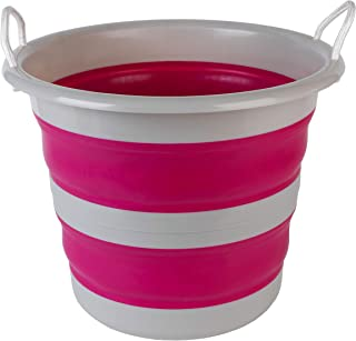 Kleeneze KL065438PNKEU Collapsible Cleaning Bucket, 30 Litre, Pink/Grey, 31.5 L x 31.5 W x 14 H cm