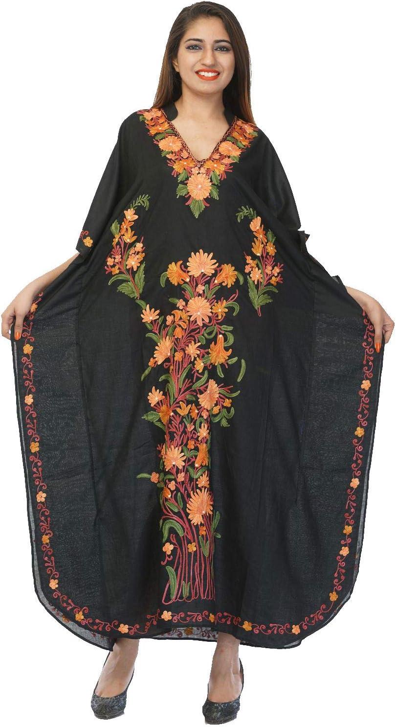 Creativegifts Kashmiri Embroidered Long Kaftan Maxi Dress Beach Cover up for Women (X001FLRN13)