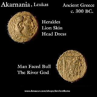 300 GR Herakles Lion Skin / River God Archeloös - Man Faced Bull Father of the Sirens. c. 300 BC. Rare Ancient Greece Coin. Bronze FAIR