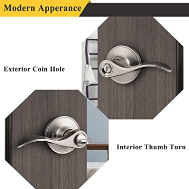 Probrico Bed/Bath Door Levers Wave Style Handles in Satin Nickel Wholesale Privacy Door Locks (10 Pack)