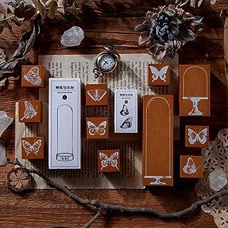Lychii Bois Tampons, 13PCS Vintage Jeu de Timbres Joint en Caoutchouc, Spécimen de Papillon & Couvercle en Verre Séries Ti...